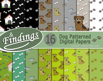 Instant Download Dog Patterned Digital Paper ready to Print, Green Gray and Black paper set with Paws, Puppies, Bones, Doghouses, Dog Bowls