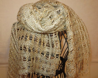 handwoven shawl, leno-lace, golden, festive