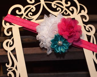 "Headband for girl, Headband for newborn, Headband for baby, Headband for infants, Headband for toddler, 5/8"" hot pink elastic with 3 flowers"