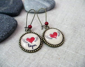 HEART LIGHT glass cabochon earrings