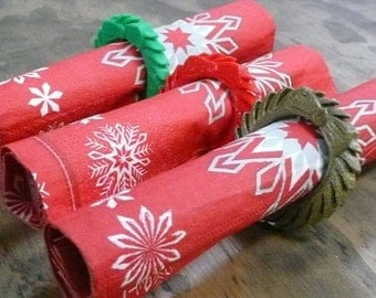 Set of 3 three Christmas wreath holiday rings napkin ring holder 3D printed - Made in USA