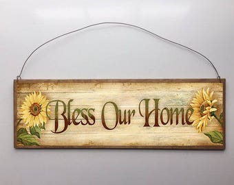 15x5 Bless Our Home Sunflowers Home Decor Art Print Sign with Choice of Black Wire or Brown Ribbon for Easy Hanging
