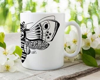 Zentangle Wrap Around Mug, Steampunk Butterfly Cup, Alternative Bee Mug, Fiona Fletcher Designs, Hand Drawn, Alternative Gift Ideas, For Her