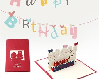 Cute 3D Pop-up Handmade Kirigami Cards for Children's  or a Child's Birthday