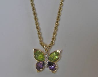 "Vintage 14 K Solid Gold Tanzanite & Amethyst Butterfly Lavaliere On 10 K Solid Gold 18"" Chain"