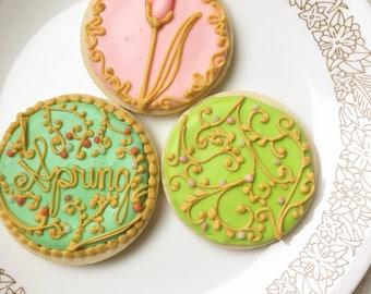 Spring Sugar Cookies, Set of Three, Filigree Gold Sugar Cookies, Delicate Sugar Cookies