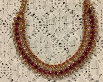Red and White Crystal Rhinestone Choker Bib Necklace