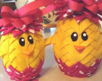 "4"" Easter Chick Quilted Ornament"