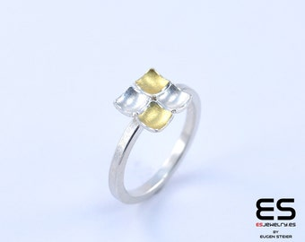 Ring silver 925  and 24k gold Mozaiku collection Keum Boo / Kum Boo ES Jewelry square