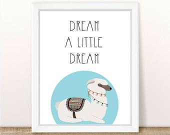 PRINTABLE Dream A Little Dream, Instant Download, Digital File, Sleeping Llama, Napping Llama, Dreaming Llama Printable, Llama Nursery Art