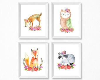 PRINTABLE, Woodland Nursery Art, Floral Animals Nursery Prints, INSTANT DOWNLOAD, Owl fox raccoon deer Watercolor Floral Woodland Set of 4