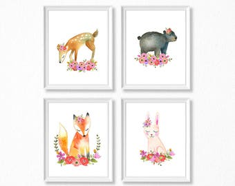 PRINTABLE, Woodland Nursery Art, Floral Animals Nursery Prints, INSTANT DOWNLOAD, Deer bear fox bunny Watercolor Floral Woodland Set of 4