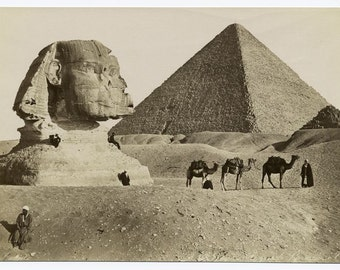 Giza pyramid and Sphinx black and white photography Sepia 1860-1899 art and Vintage Egypt print collection