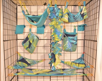 15 Piece Sugar Glider/Rat Cage Set - Feathers/Teal- Ready to Ship!