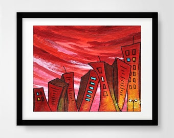 Instant download printable art print city painting red wall decor pop art urban town buildings modern print artwork home decor design