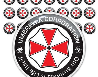 21pc Resident Evil Umbrella Corporation 3d domed stickers