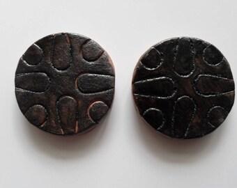 Black Glazed Tiles Set of Two Handmade Original Medallion or Round Tiles Primitive Style Ready To Ship