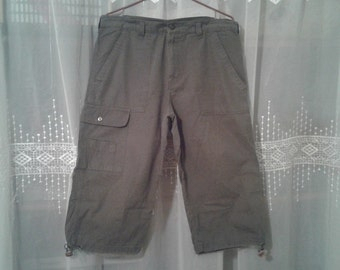 Capri pants men size 40-42 /pantacourt green cotton with Pocket