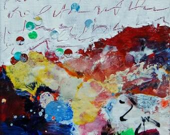 """Lake Michigan Dreaming 8 - Original Acrylic Painting 5""""x 5"""" - Lake Art, Lake Michigan, Abstract Landscape, Dreaming"""