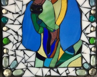 Stained glass Basset hound