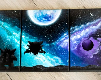 Gastly,Haunter and Gengar under the moon pokemon Paintings set