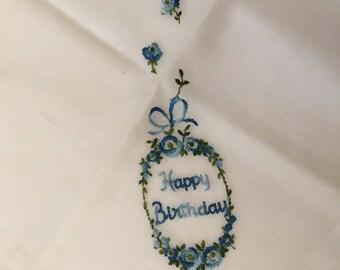 Vintage Handkerchief / Happy birthday
