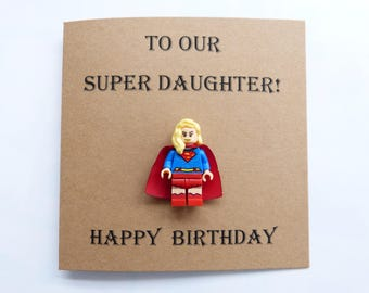 Daughter birthday card. Funny daughter card. Superhero daughter card. Supergirl birthday card. Daughter minifigure card. Geek daughter card.
