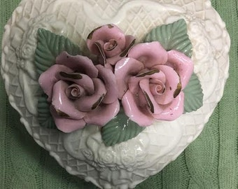 Shabby Chic Porcelain Rose Box, Vintage Porcelain Box, Vintage Heart Box