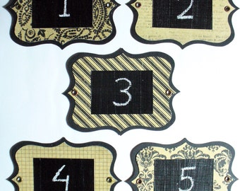 Sepia Chalkboard Labels - multi-use, colourful and re-usable with metal eyelets. Set of 6