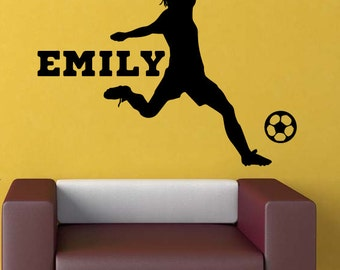 Soccer Player Girl Personalized Vinyl Wall Decal a48
