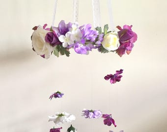 Flower Mobile, Nursery Mobile, Baby Girl Mobile, Princess Mobile, Floral Mobile, Purple Mobile, Butterfly Mobile