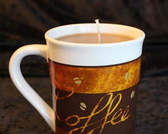 10oz Coffee Mug Candle in Fresh Brewed Coffee Scent in Brown