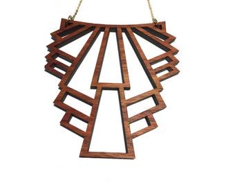 Art Deco Laser Cut Wood Necklace