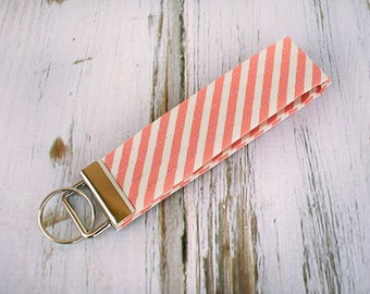 Quilted Fabric Key Fob, Key Chain, Key Holder -  Coral and Cream Stripe