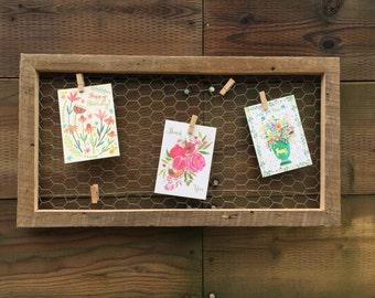 Reclaimed Wood Chicken Wire Memo Board, Office Decor, Home decor, Farmhouse Decor