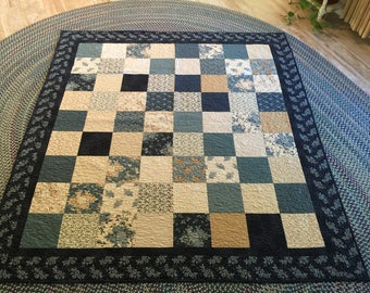 Handmade Blue and Tan quilt