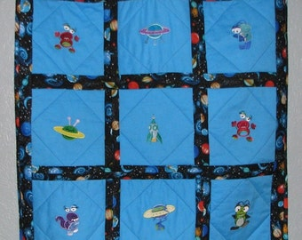 Blue Alien Baby Blanket