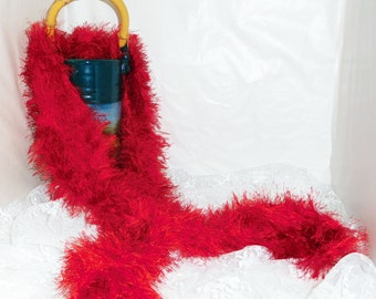 """Furry Fiery Red Hand Knit Scaft - Approx 5'10"""" Long x 8"""" Wide - Stretchy"""