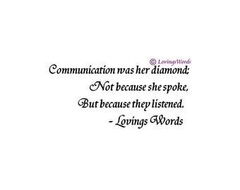 Printable Art - Communication was Her Diamond Poem - Digital Download