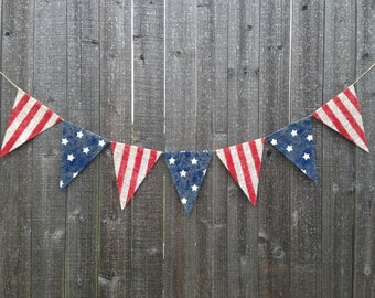 American flag Burlap Banner Fourth of July patriotic decor 4th of July decoration american flag banner decor