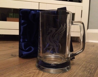 Liverpool FC hand etched tankard