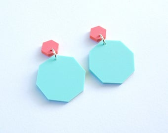 Octagon Dangly Earrings in Pink and Mint Pastel