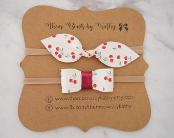 Candy Cherry Headband Collection - faux leather on thin nylon or clip - infant toddler girl -White and red cherries - made to order