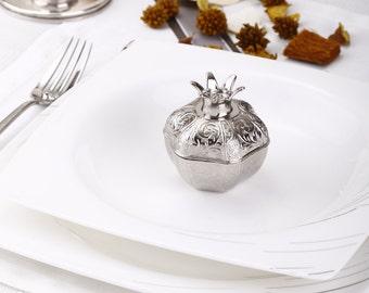 unique silver pomegranate favor box, elegant wedding favors, personalized wedding favour, favor boxes for guests, rustic wedding, gift ideas