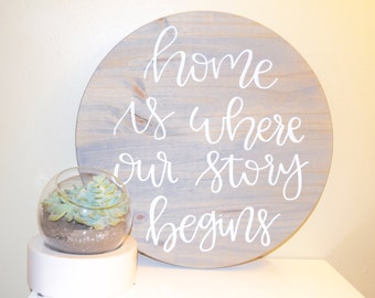 "Customized Personalized ""Home Is Where Our Story Begins"" hand painted handmade hand lettered wooden sign"