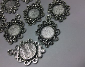 10 x Round Antique Silver Pendant Settings Only or with 12mm glass cabochons to fit