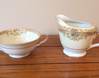 Noritake china, Sonora sugar bowl and creamer