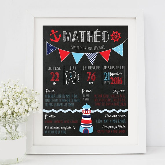 affiche premier anniversaire chalkboard f te b b 1 an. Black Bedroom Furniture Sets. Home Design Ideas