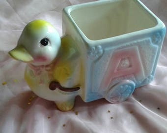 Vintage kitschy cute ducky baby planter with letters
