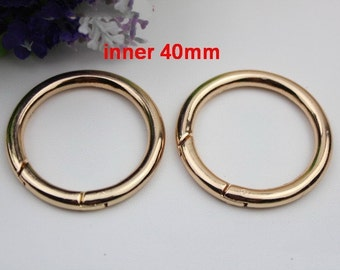 4 pcs inner 40mm large gold  spring ring clasp round split key ring Heavy gate ring O rings D ring